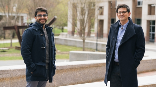 Eshin Jolly, left, a post-doctoral researcher in the Computational Social Affective Neuroscience Laboratory (COSAN) and Luke Chang, an assistant professor of psychological and brain sciences